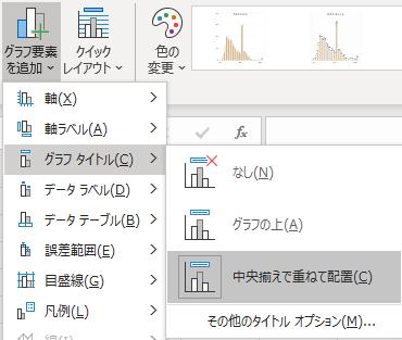 「グラフのデザイン」「グラフ要素を追加」「グラフタイトル」