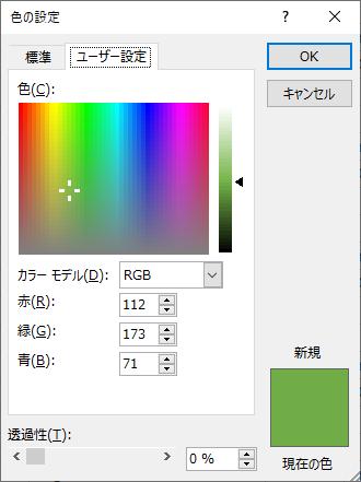 「色の設定」の「ユーザー設定」でカラーモデル「RGB」を開いたところ