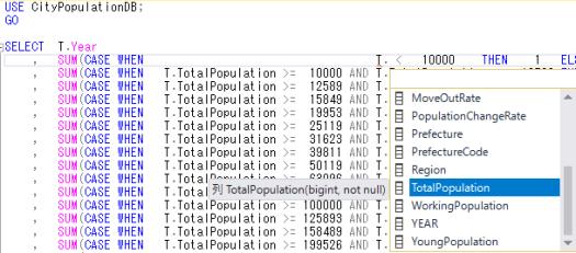 SQL Server management Studioのクエリ画面.列名がポップアップして入力をアシストしてくれる