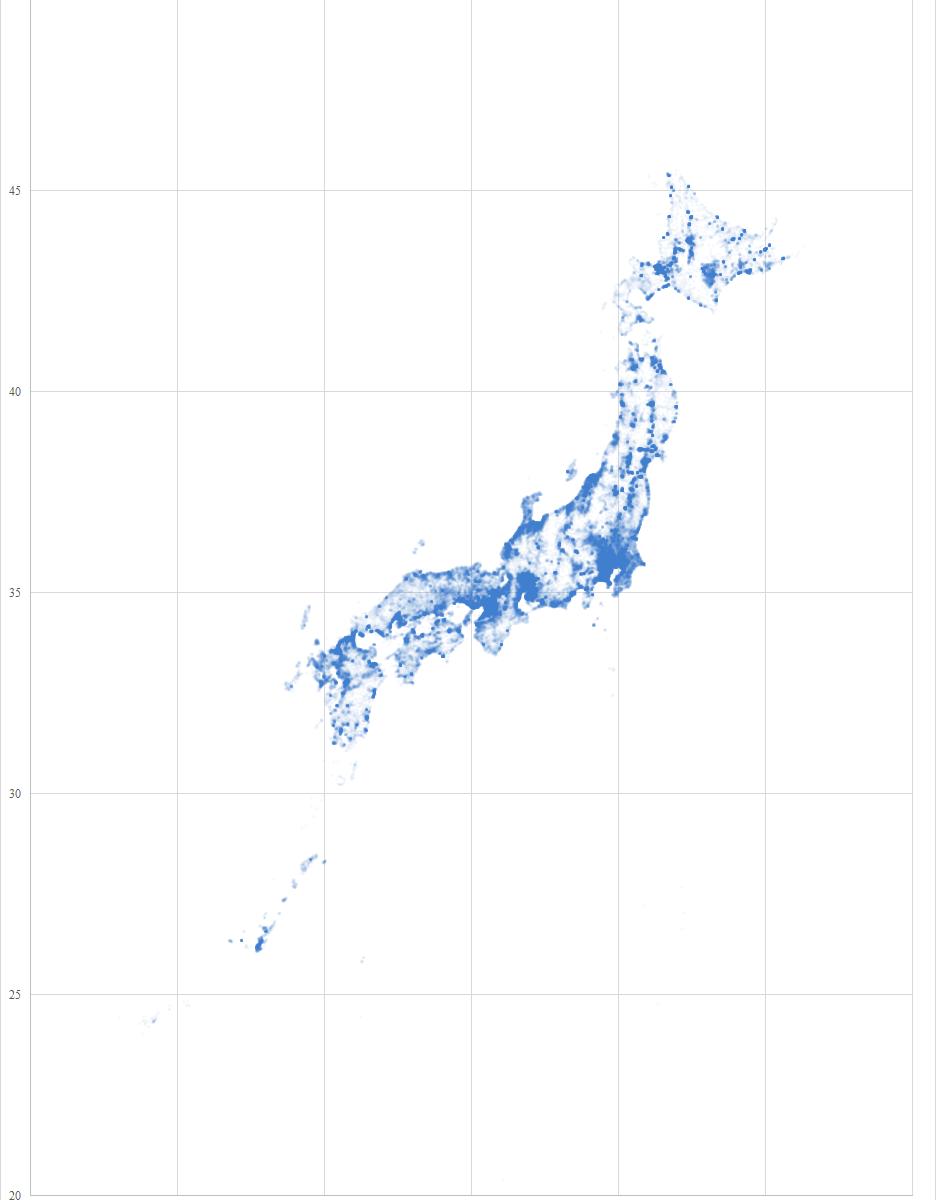 大字・町丁目レベルの位置参照情報でマッピングした日本の形