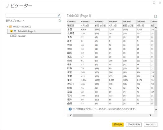 Table001(Page 1)のチェックを入れ、「データの変換」