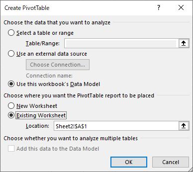 ピボットテーブルの作成 (Create PivotTable)