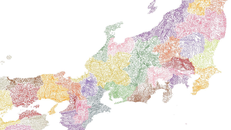 国土数値情報の河川データの流路をQGISで表現