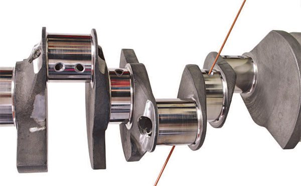"""All top-of-the-line racing crankshafts utilize """"straight-shot oiling"""" in which the rods are oiled via a straight, uninterrupted passage from the mains."""