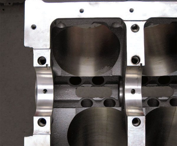 Main bearing size is sometimes application specific. Durability engine builds typically call for larger stock-size mains while many naturally aspirated high-RPM, high-horsepower applications take advantage of smaller main bearings with bearing spacer inserts to reduce friction.