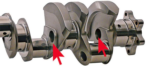 Gun-drilled mains are also used to lighten a racing crankshaft.