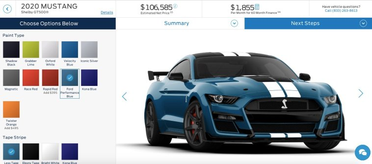 2020 Ford Mustang Shelby Gt500 Configurator Goes Live