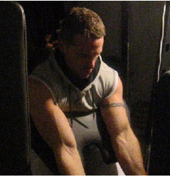 Me doing a set of cable preacher curls