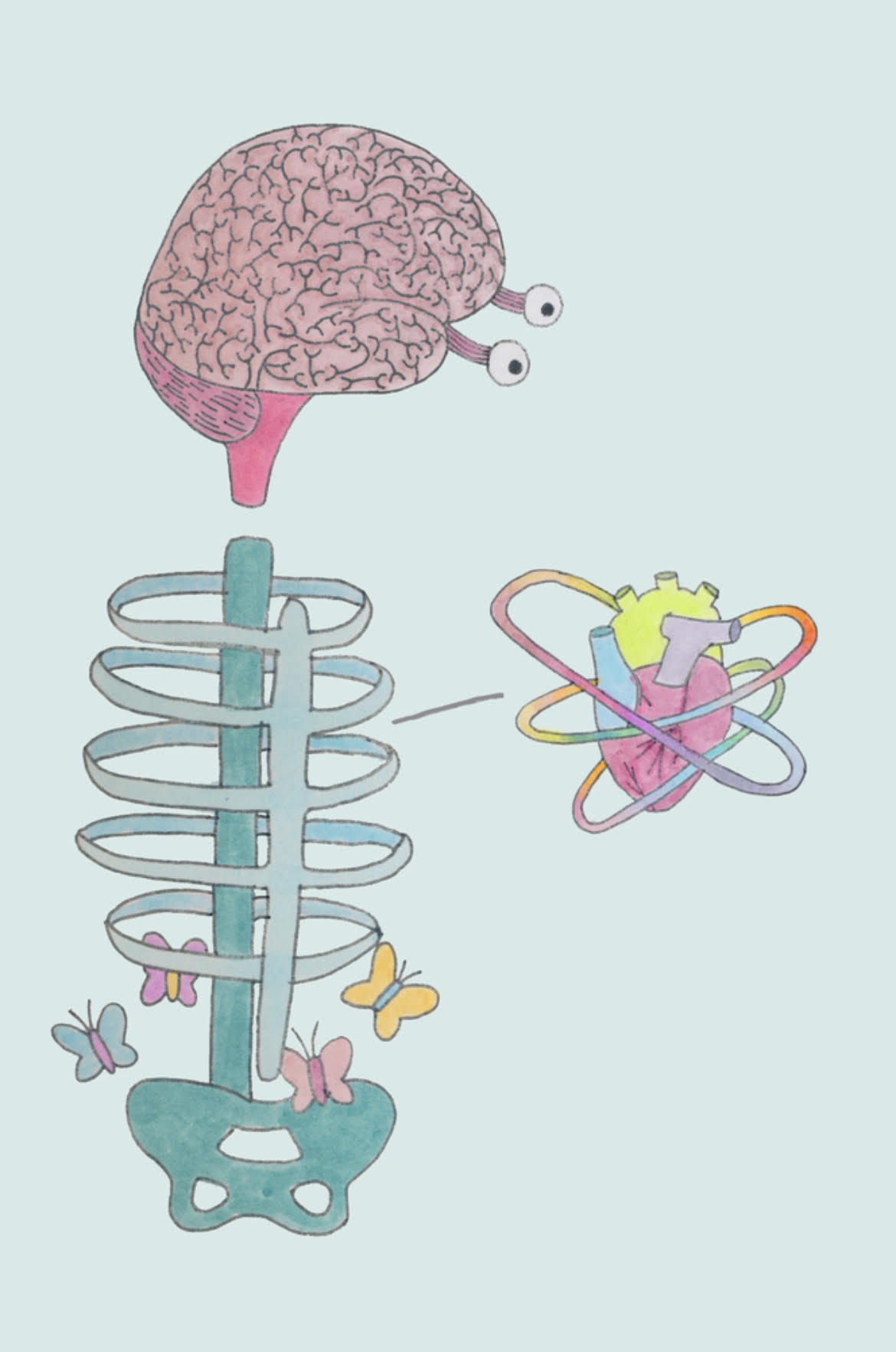 Illustration by Sadie Levine. Brain with eyeballs sits above a teal cartoon rib cage illustration filled with cartoon butterflies. To the right of the brain and rib cage is a neon drawing of a heart, rainbow lines surrounding it. The image's background is a pale robin's egg blue tone.