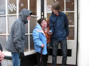 Group of three taking part in Geocaching
