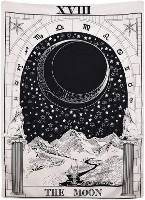 01-Tapiz Tarot Blanco  La Luna XVIII