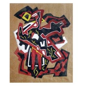 """"""" Abstracción"""" s.f. : guache sobre papel 35 x 29.5 cm"""