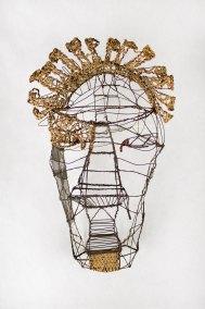 """""""Máscara"""" s.f. : alambre galvanizado, malla, alambre de cobre y mecate 51.5 x 30.5 x 3 cm"""