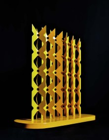 Bosque monarca II | 2010 Placa de acero y esmalte amarillo 60.5 x 72 x 26 cm