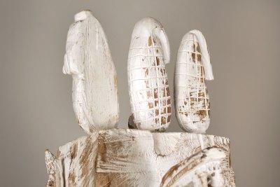"""Serie Tlalocan 19 Pirámide 1"" : 2017 : talla en madera estucada : 86.5 x 45 x 45 cm Detalle"