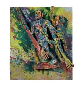 """Serie Tlalocan 27"" : 2017 : talla en madera estucada, policromada y encerada : 180 x 150 x 31.5 cm"