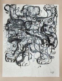 """""""Serie Tlatoanis 13"""" : 2018 : tinta, acrílico y carbón sobre papel arroz : 152.7 x 119.6 cm"""