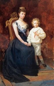 Dª María Cristina de Habsburgo y D. Alfonso XIII (boceto)