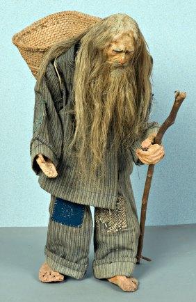 Luigi Varoli - Babbo Natale, senza data, pupazzetto in legno, ferro e stoffa, alt cm 46