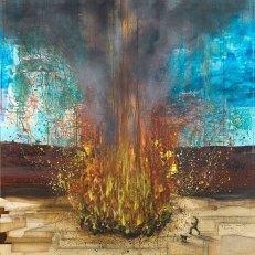 """Denis Riva """"Bruciare tutto"""" 2013, acrilico e carta su tela, cm 150x150"""