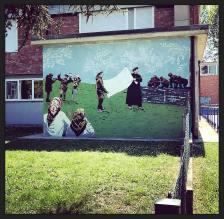 Un murale dedicato all'Operazione Bandiera Bianca realizzato dai ragazzi frequentanti le classi terze delle medie, coordinati dalla Prof.ssa Marzia Bianchi e dell'artista lughese di stanza a Cotignola About Ponny, 2018