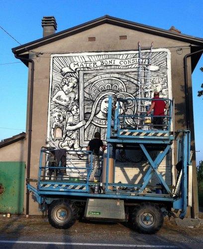 Collettivo FX, La Madonna dell'adesso, tappa di Budrio di Cotignola RA, via Gaggio, Madre del Buon Consiglio, venerdì 5 maggio 2017, dal Museo al Paesaggio
