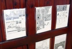 """Saluti da Cotignyork / 5-11 giugno 2017 / Palazzo Pezzi, Cotignola RA / Le mostre: piano terra: """"Una mela, un leone e un'armatura"""", corso di fumetto per ragazze e ragazzi delle medie condotto da Massimiliano Fabbri, Scuola Arti e Mestieri + MARTOZ """"La mela mascherata"""" a cura di Canicola Bambini e Museo Civico Luigi Varoli."""