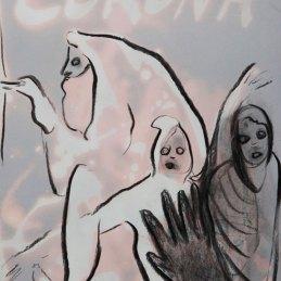 n.95 Maurizio Bongiovanni Spirits are my Friends 2020 Ipoclorito di sodio e fusaggine 29,7 x 21 cm