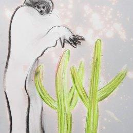 n.97 Maurizio Bongiovanni Spirits are my Friends 2020 Ipoclorito di sodio fusaggine e pastelli a cera 29,7 x 21 cm