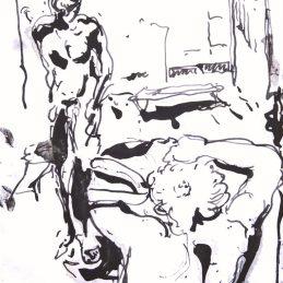 n.11 Giulio Catelli In piscina (lo spogliatoio) 2020, inchiostro nero su carta 20,2 x 15 cm