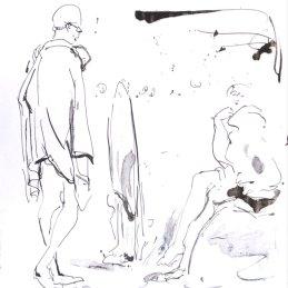 n.12 Giulio Catelli Le gare di nuoto 2020, inchiostro nero su carta 29,5 x 21 cm