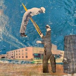 n.148 Paolo De Biasi Senza Titolo 2020 collage e acrilico su carta di giornale cm 42,5x31