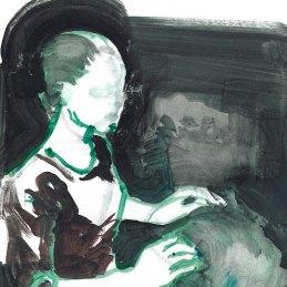 n.125 Barbara De Vivi Disegno dall'Archivio, 2019, olio su carta cm 30x20