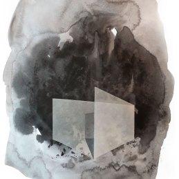 n.91 Thomas Scalco Senza titolo 2017 tecnica mista (acrilico grafite,collage su carta ) su carta 21x29,7 cm