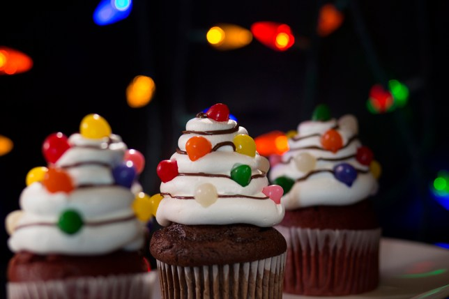 HHN Orlando Christmas Tree Light Cupcakes