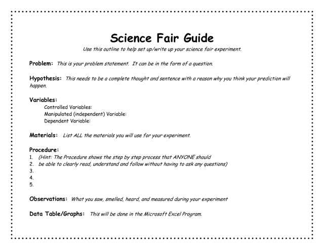 Example science fair research paper