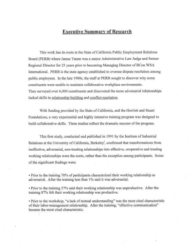 Executive summary example for research paper