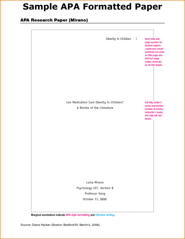 apa research paper cover page