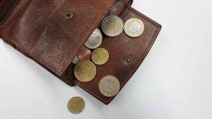 coin bills in a leather pouch