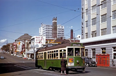 Melbourne circa 1960, showing the Coop Shot Tower