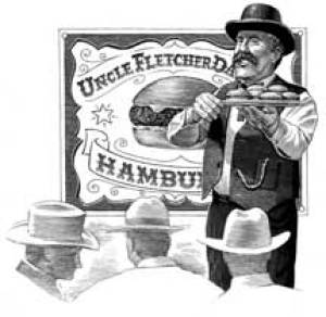Drawing of Fletcher Davis, possible inventor of the hamburger