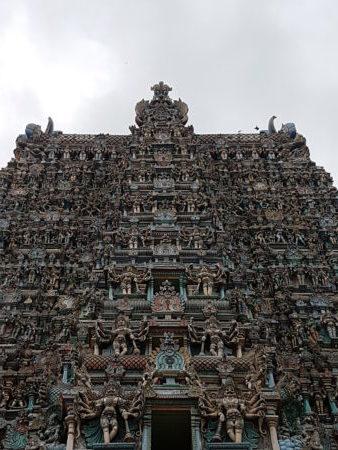 Meenakshi Temple tower carvings