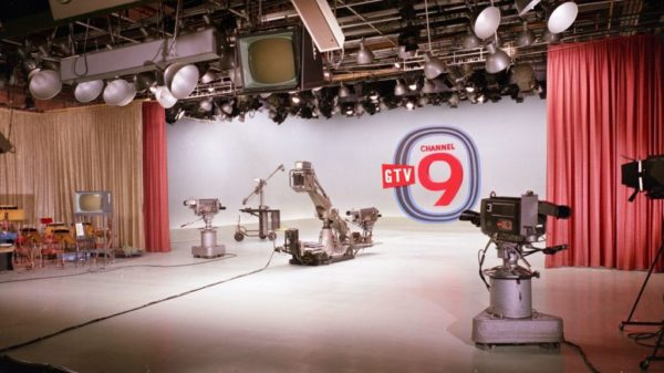 On the floor of Channel 9 studios