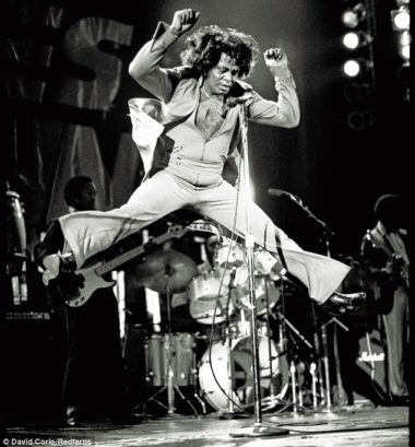 James Brown in full cry, in a pair of flares.