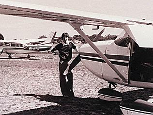 Frederick Valentich standing with a Cesna, at Moorabbin airport.