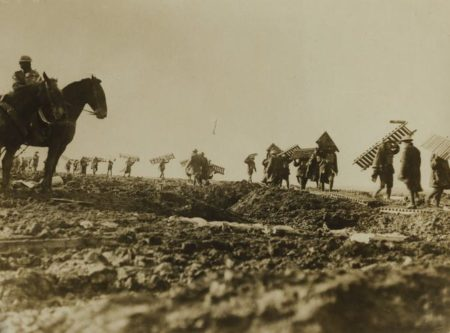 Soldiers lay 'duckboard' at Ypres, World War I