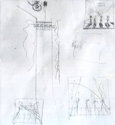 A sketch Paul Macartney drew, showing the idea for the Abbey Road cover.