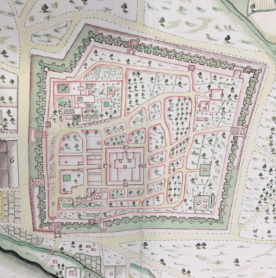 An English map of Madurai, 1755. The Meenakshi Temple is clearly visible, in the centre.