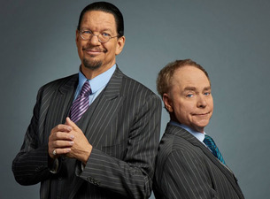 A publicity still of magicians Penn and Teller