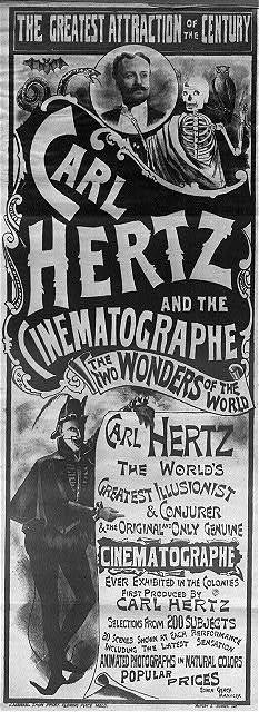 An ad for magician Carl Hertz and Australia's first movie screening